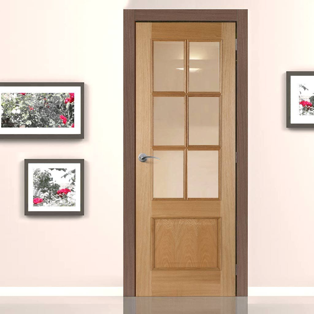 Iris 6 Light White Oak Fire Door with Clear Safety Glass is 1/2 ...