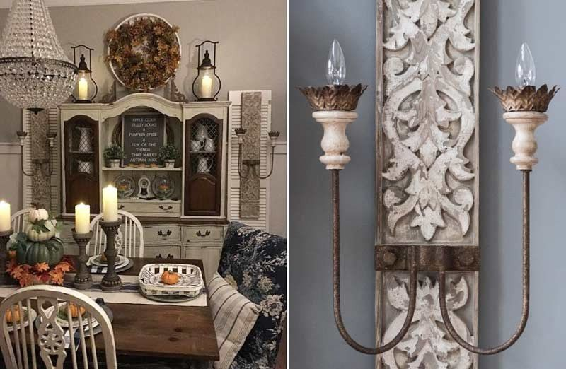 Distressed Wood Chandelier   Chandeliers   White ... on Vintage Wall Sconce Candle Holder Decorating Ideas id=68599