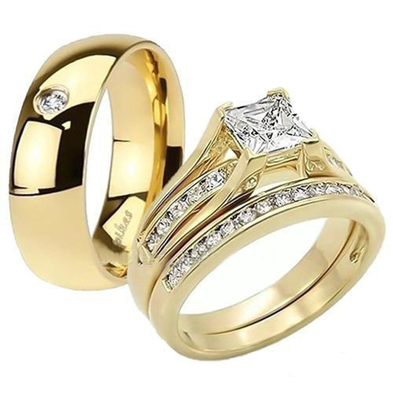 His and Her 14K G.P. Stainless Steel 3pc Wedding