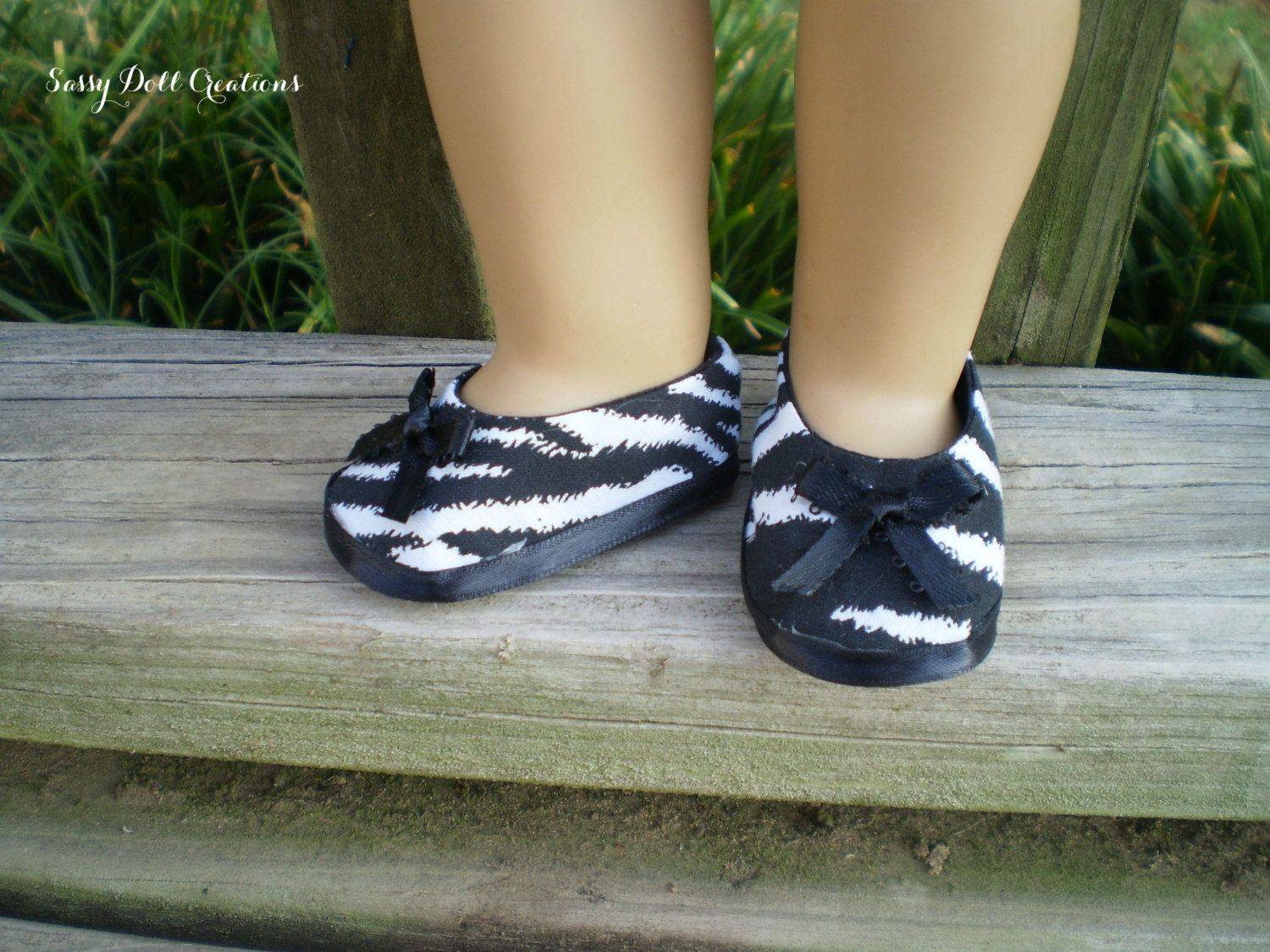 """American Girl Doll Shoes, 18"""" Doll Zebra Shoes, American Girl Doll Zebra Shoes, AG doll Shoes, Ready to Ship shoes, Handmade Doll Shoes - pinned by pin4etsy.com"""