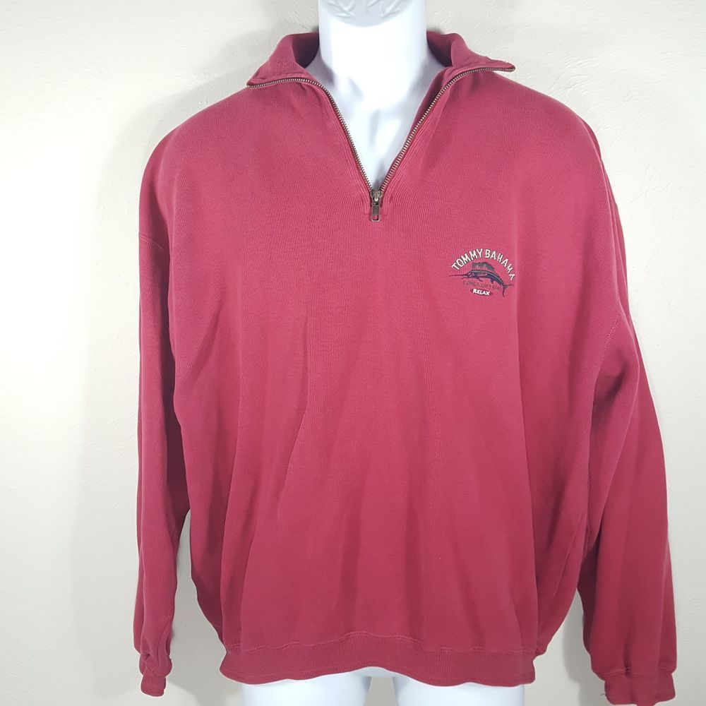 Tommy Bahama Relax Red 1 2 Zip Pullover Sweatshirt Sweater Men S Size Large Tommybahama 12zip Sweatshirt Sweater Pullover Sweatshirt Men Sweater [ 1000 x 1000 Pixel ]