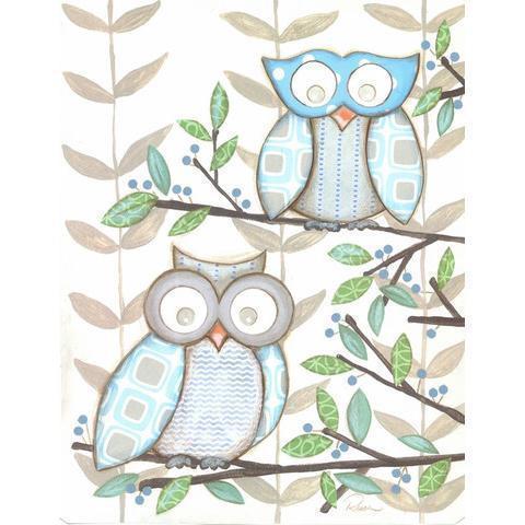 Two Blue Owls Framed Art Print