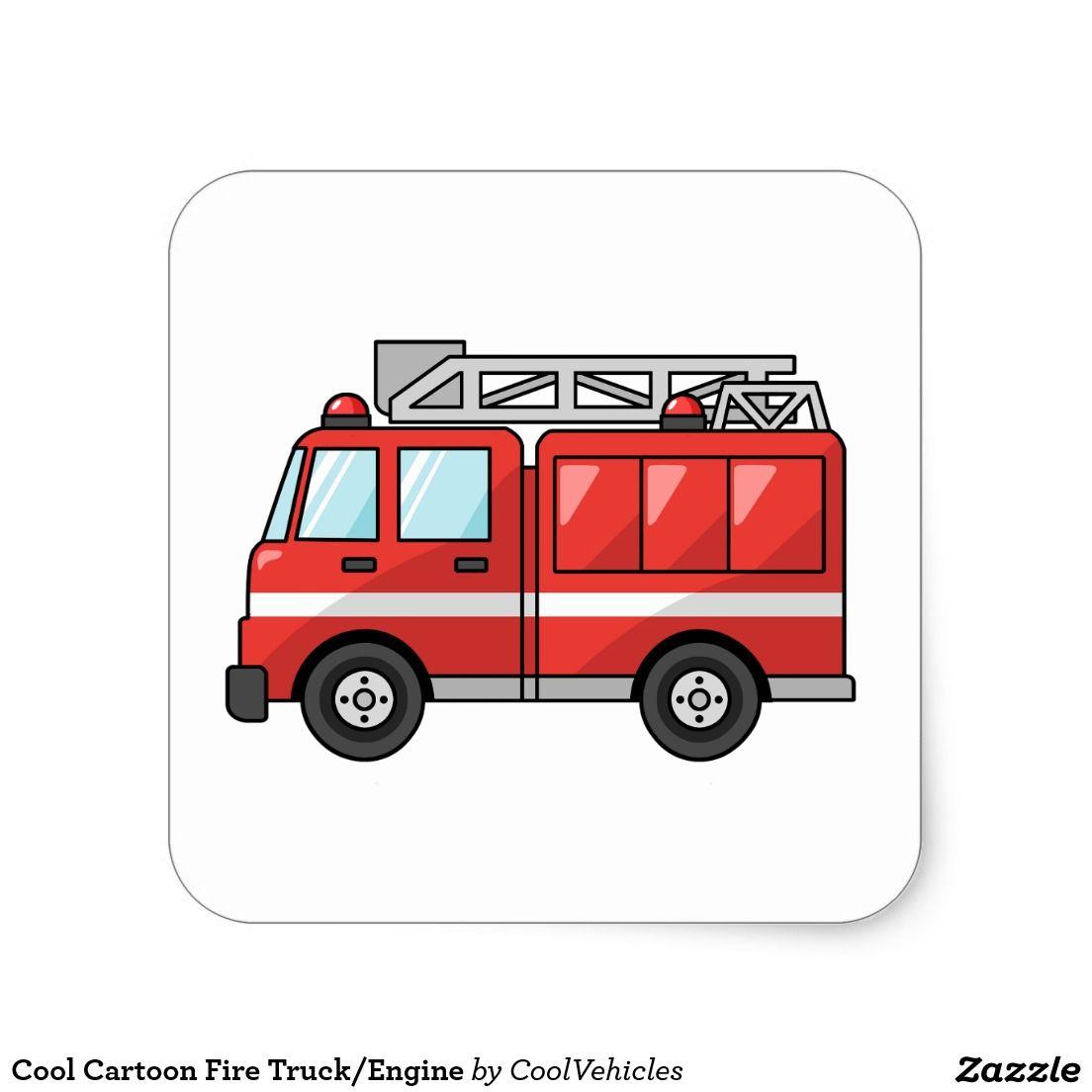 Cool Cartoon Fire Truck Engine Square Sticker Zazzle Com Fire Trucks Fire Truck Drawing Cool Cartoons
