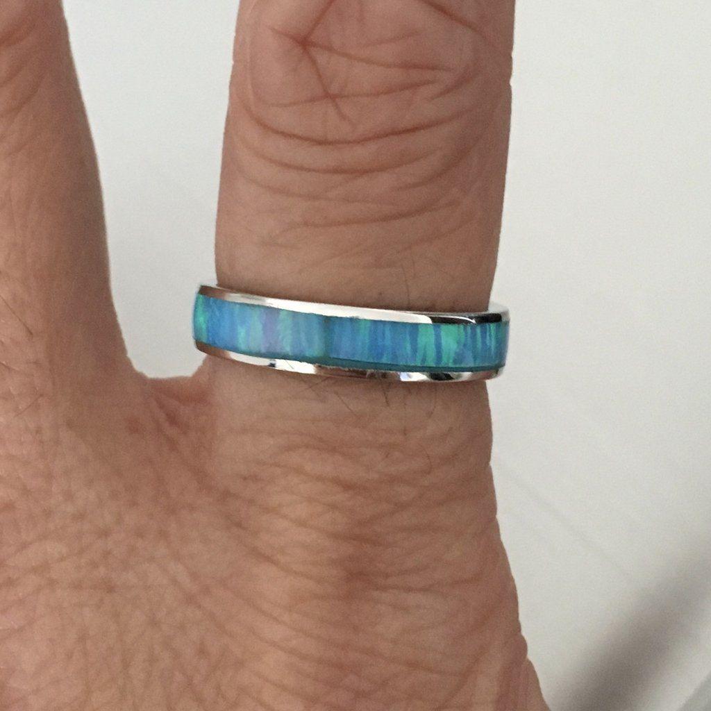 Sterling Silver 3 MM Light Blue Lab Opal Eternity Banb
