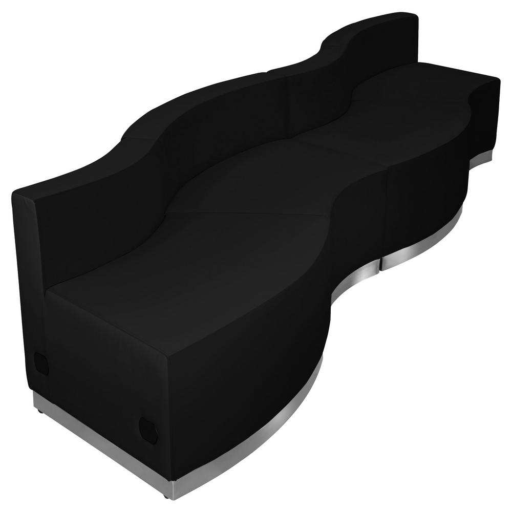 Best Carnegy Avenue 4 Piece Black Living Room Sets Black 400 x 300