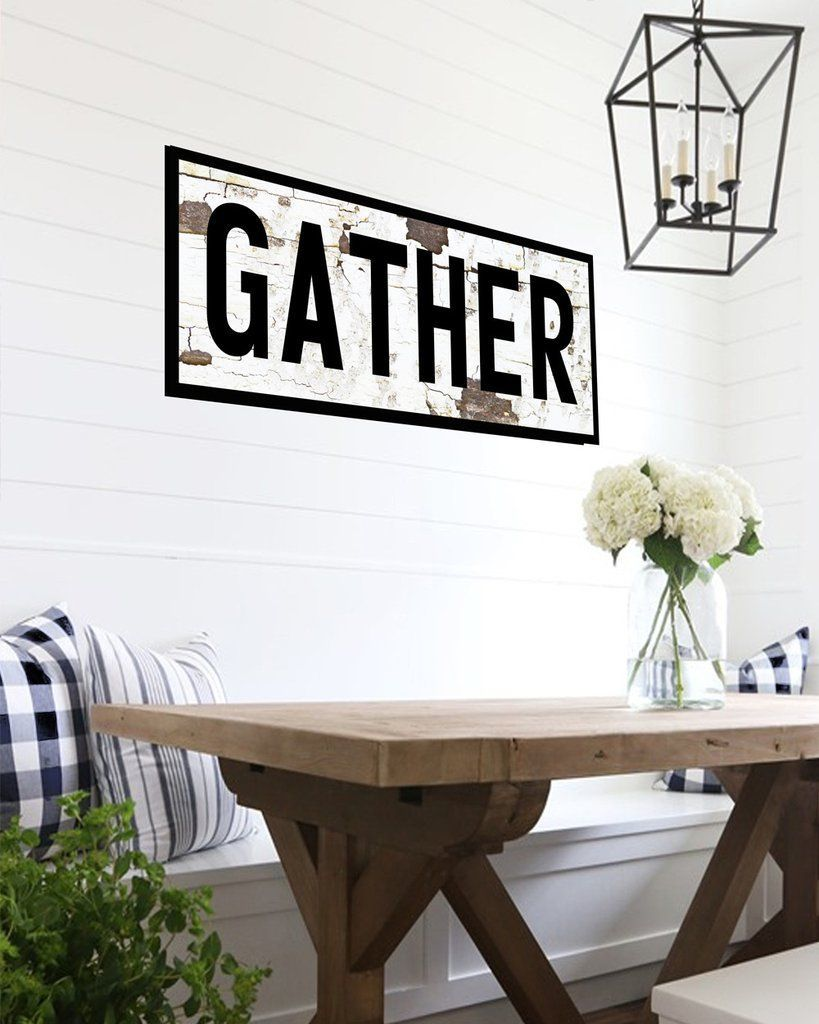 Farmhouse gather sign large canvas sign kitchens and interiors