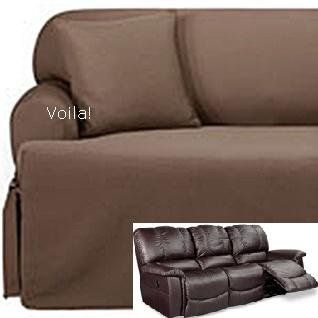 Superbe Reclining SOFA T Cushion Slipcover Ribbed Texture Chocolate Adapted For  Dual Recliner Couch