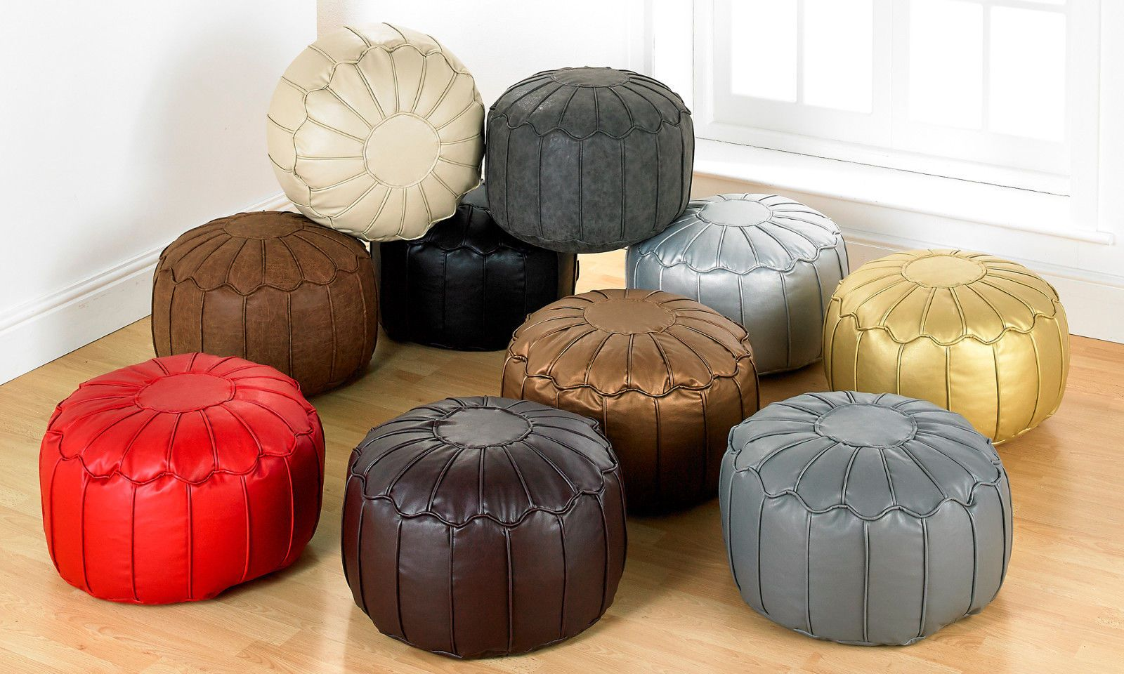 Premium Quality Leatherlike Morroccan Chocolate Pouffee Round Bean Bag-Large