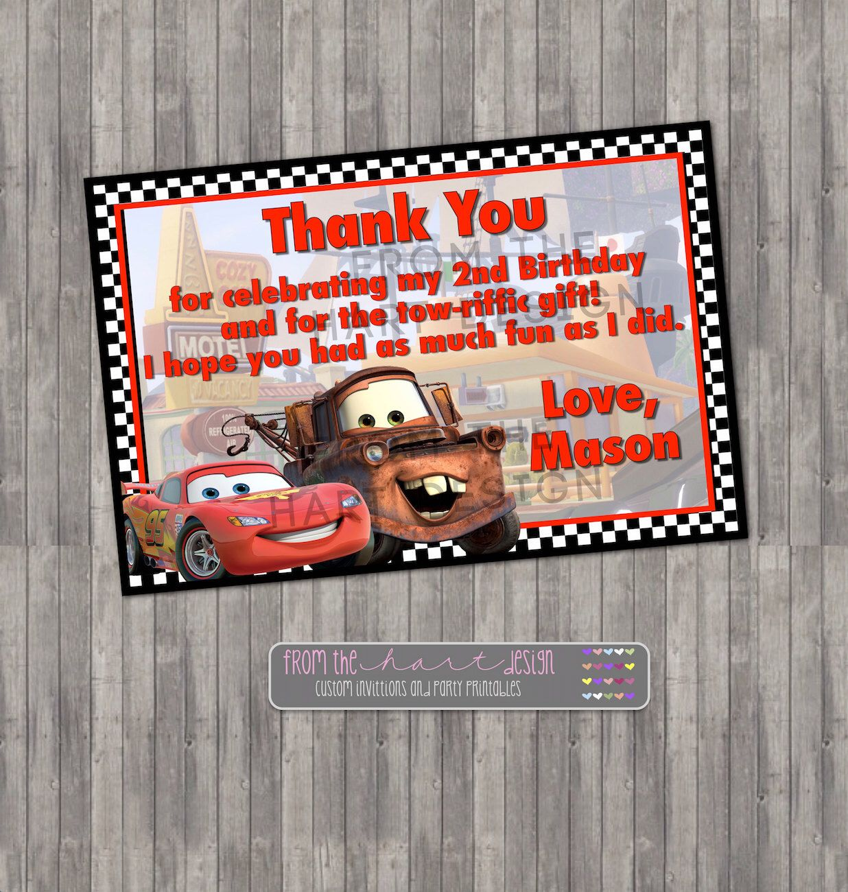 Disney Cars Birthday Thank you Card Digital Printable Lightning – Personalized Birthday Thank You Cards