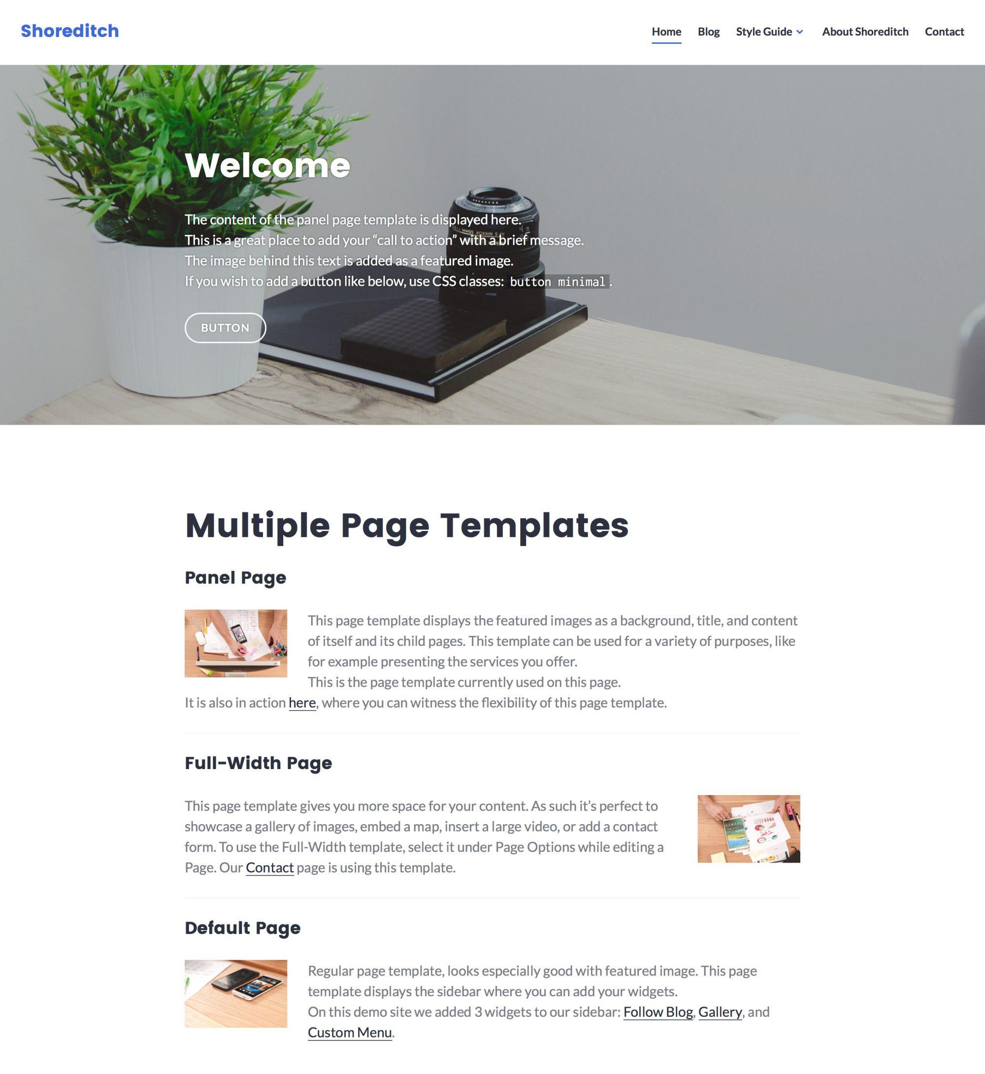 Shoreditch Free Responsive WordPress Theme Freebies Blog Business ...