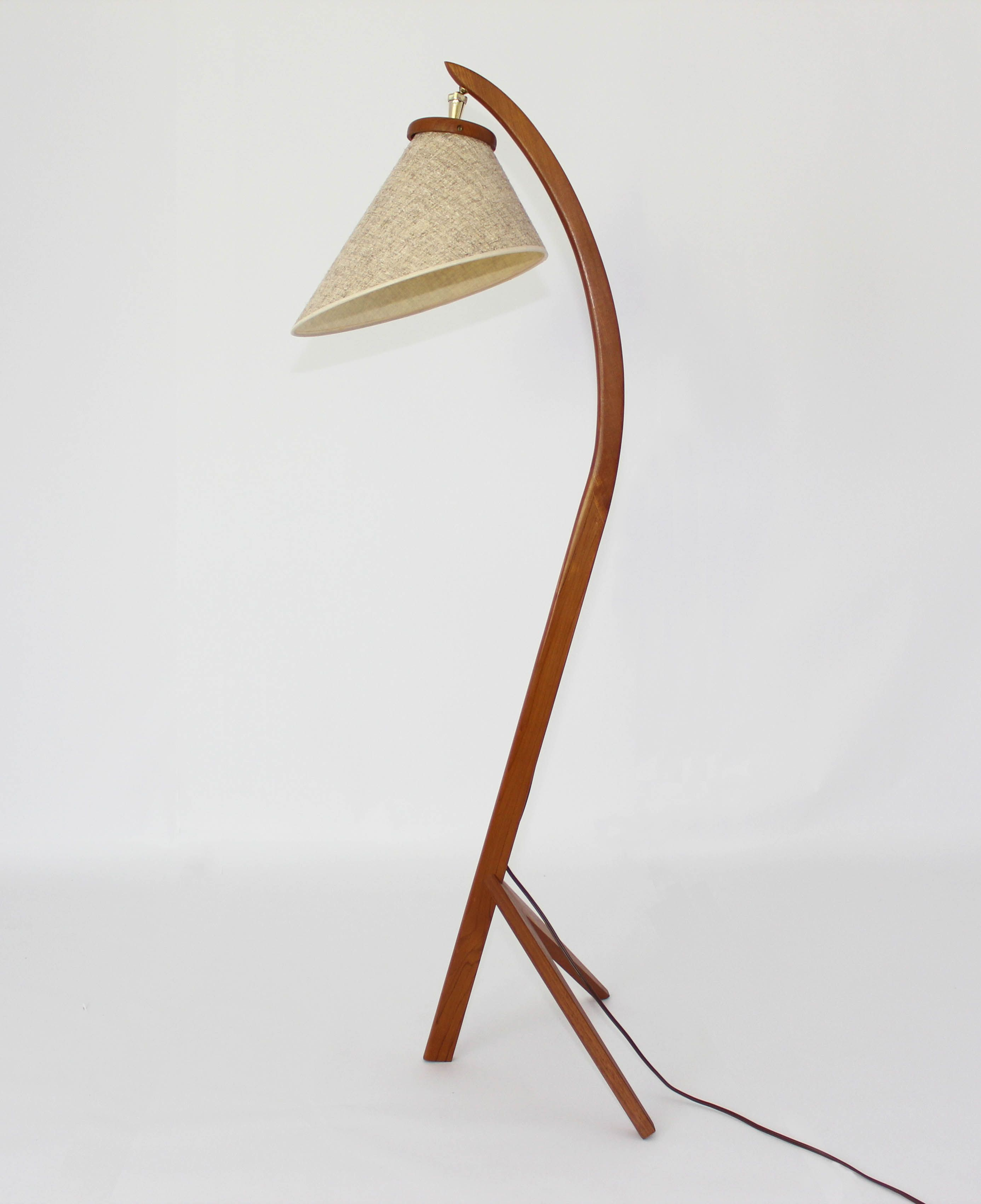 Retro Mid Century Danish Teak Bow Lamp
