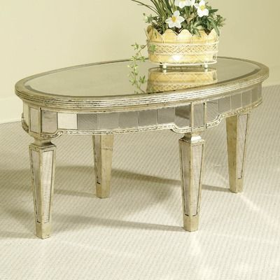 Wonderful Antique Mirror Coffee Table | Oval Antique Mirrored Coffee Table