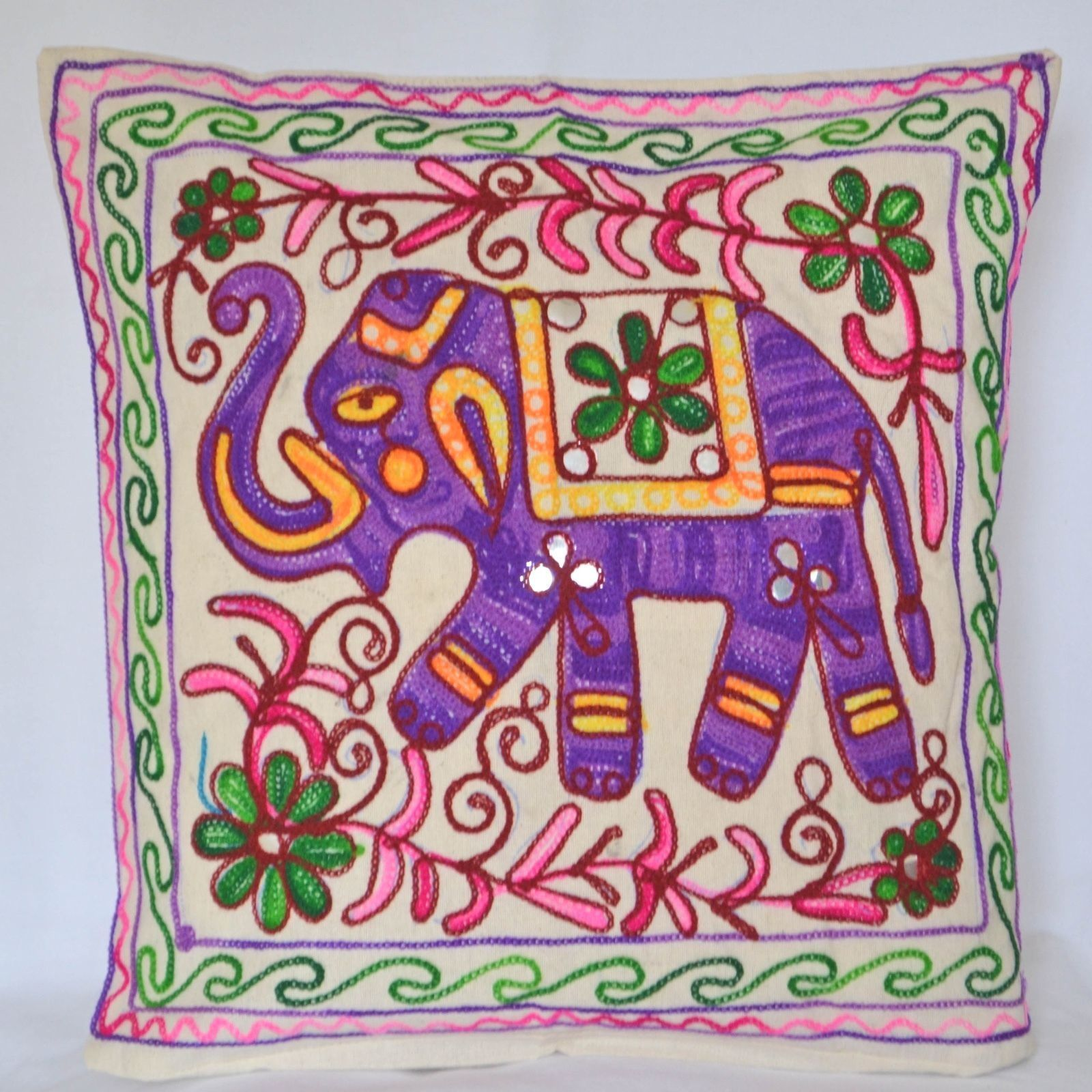 Purple elephant cushion covers cm cotton wool embroidery