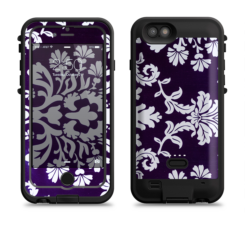 The Blue & White Delicate Pattern Apple iPhone 6/6s LifeProof Fre POWER Case Skin Set