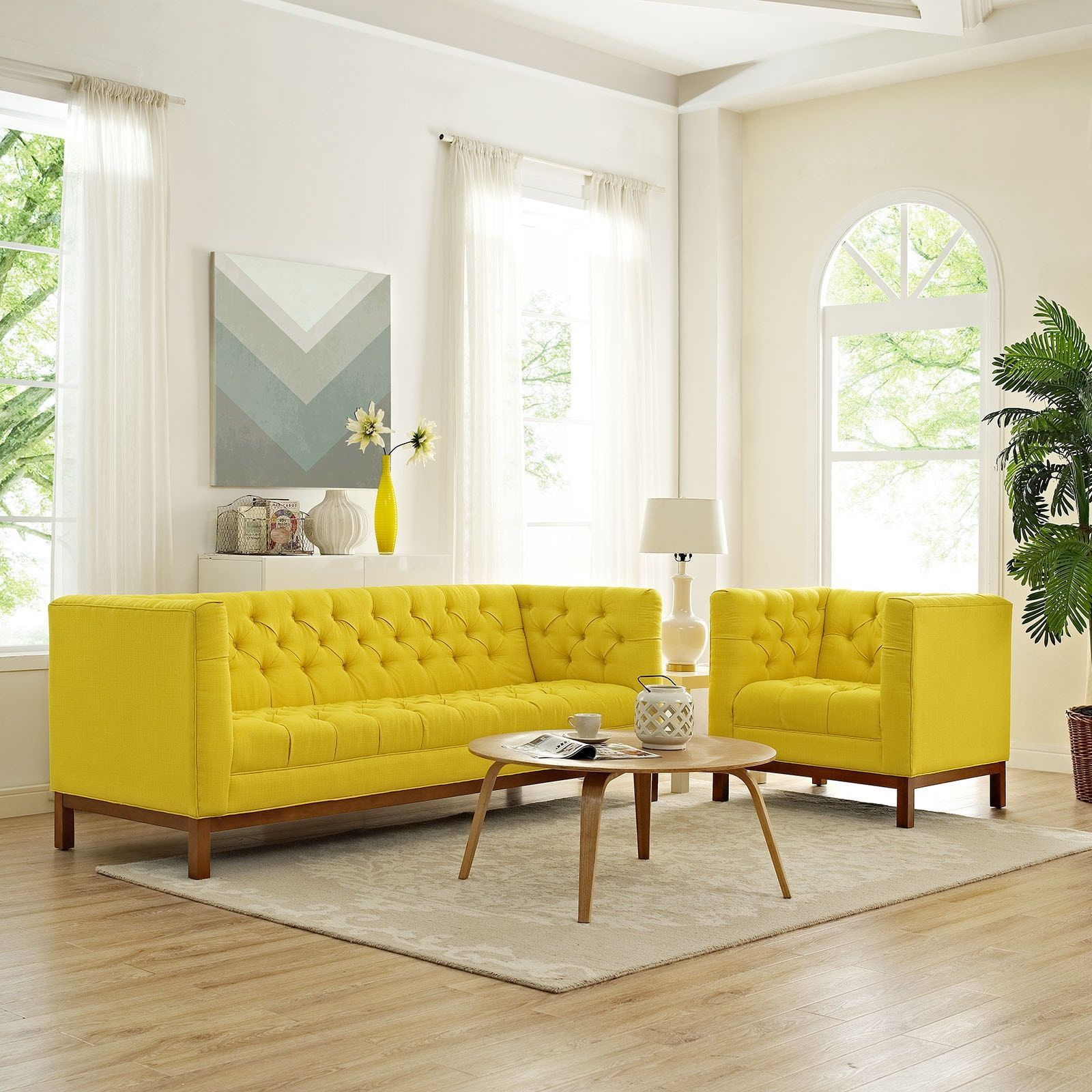 Modway Panache Yellow Fabric Living Room Furniture Set Set Of 2 Glamorous Yellow Living Rooms Inspiration