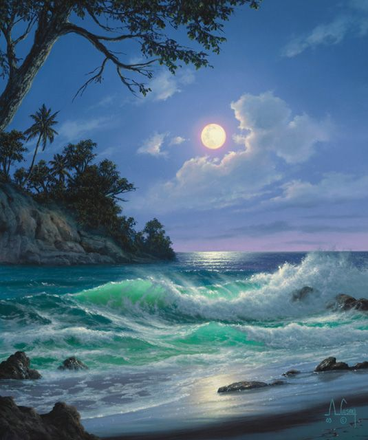 Pin By Kim Madaus On Things I Think Makes Sing My Thin Mind Hihihi Seascape Paintings Ocean Painting Landscape Paintings