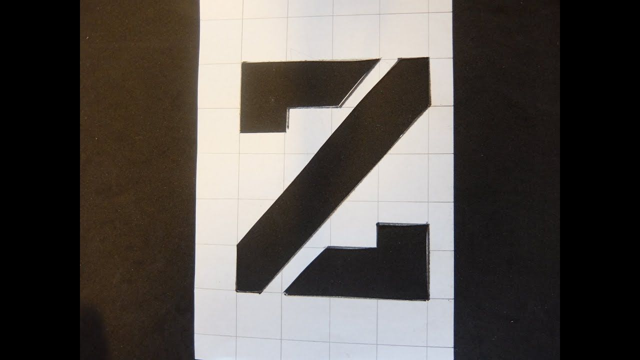 DIY Stencil Letter Z with Grid Paper Craft | Stencil letters