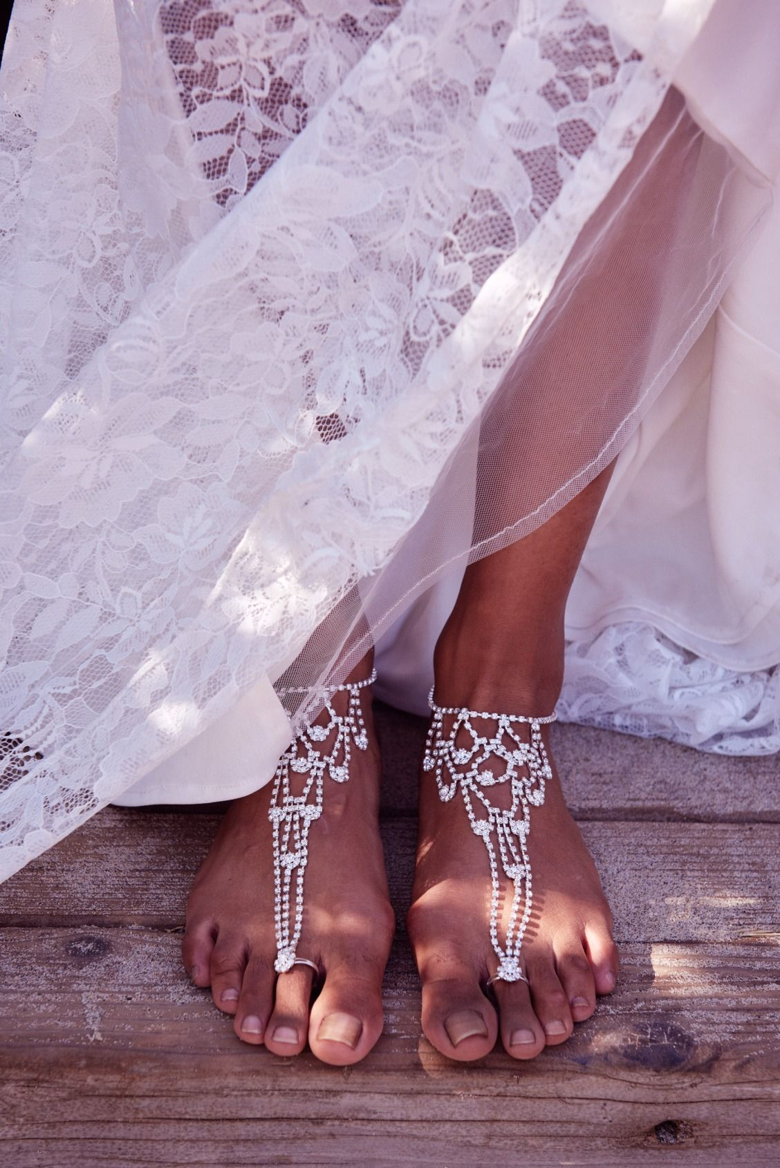 Ditch the heels for a barefoot bridal look. Shop foot ...