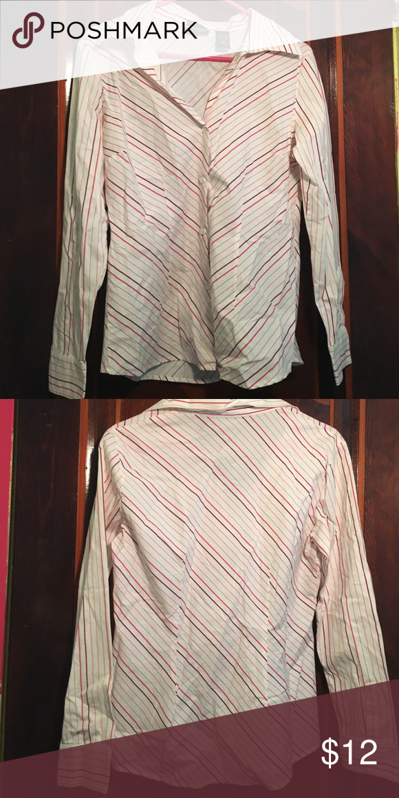 Striped dress shirt Pink striped dress shirt, button up, stretches, fairly new New York & Company Tops Button Down Shirts
