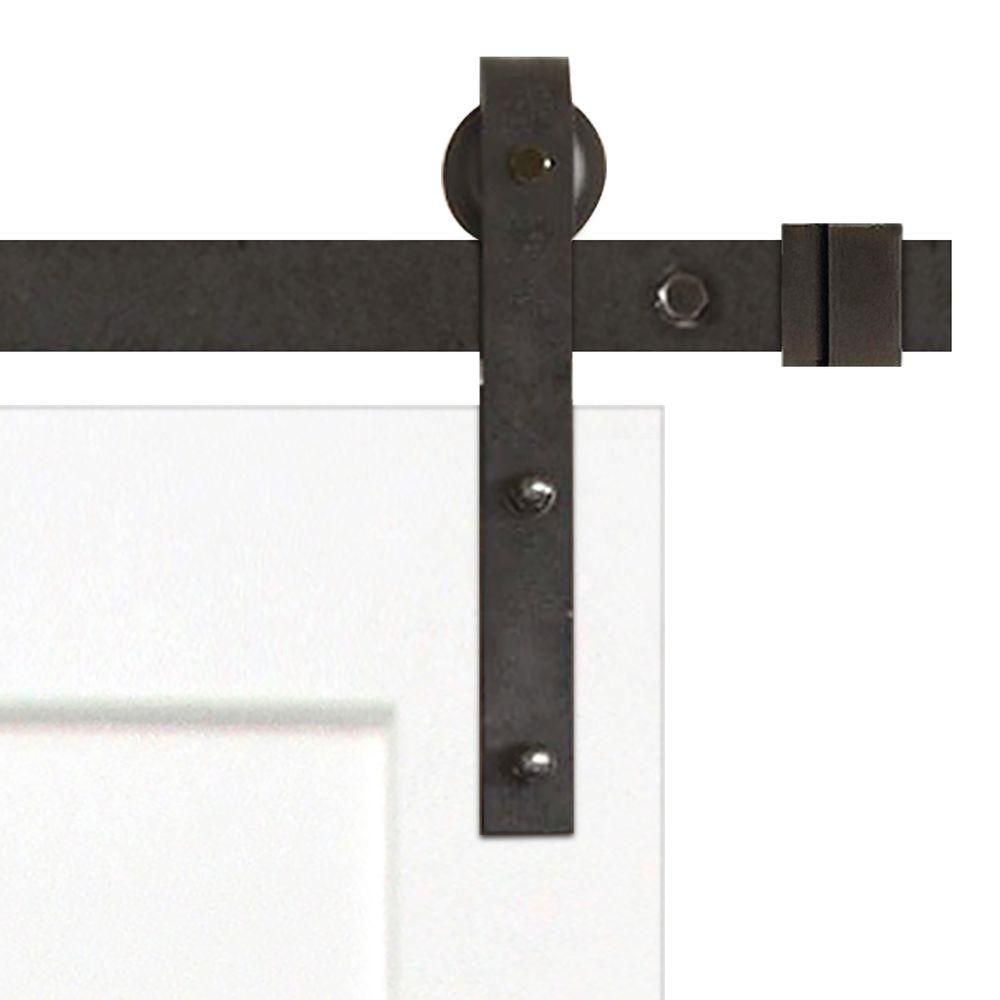 Pacific Entries 36 In X 84 In Shaker 2 Panel Primed Wood Interior Sliding Barn Door With Bronze Hardware Kit White Interior Sliding Barn Doors Interior Barn Doors Sliding Door Hardware