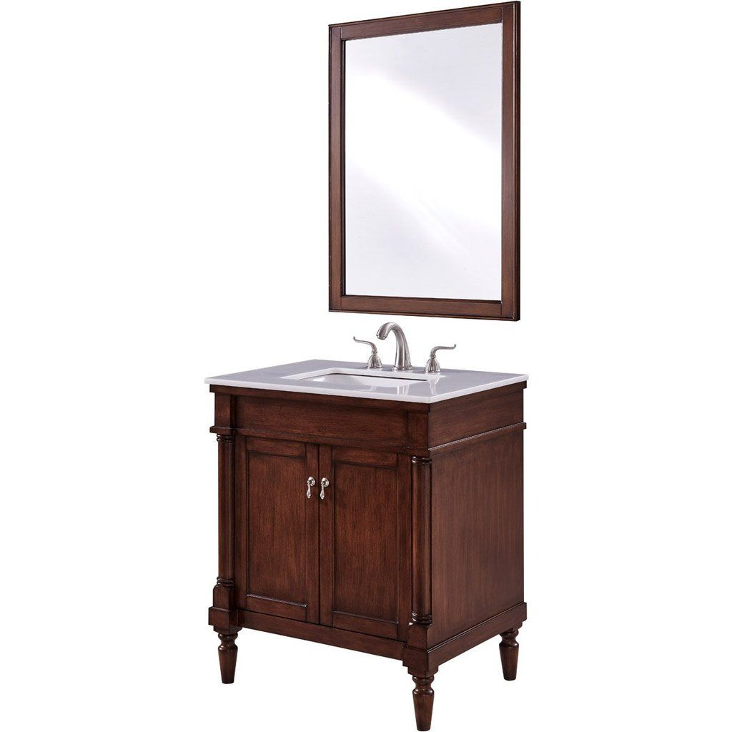 Lexington 30 X 35 2 Door Vanity Cabinet With Mirror Walnut Finish Vf13030wt Single Bathroom Vanity Bathroom Vanity Decor Small Bathroom Vanities
