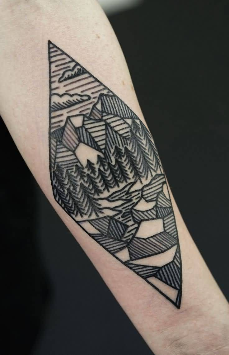 Nice Landscape Mountains With Trees Geometric Tattoo By