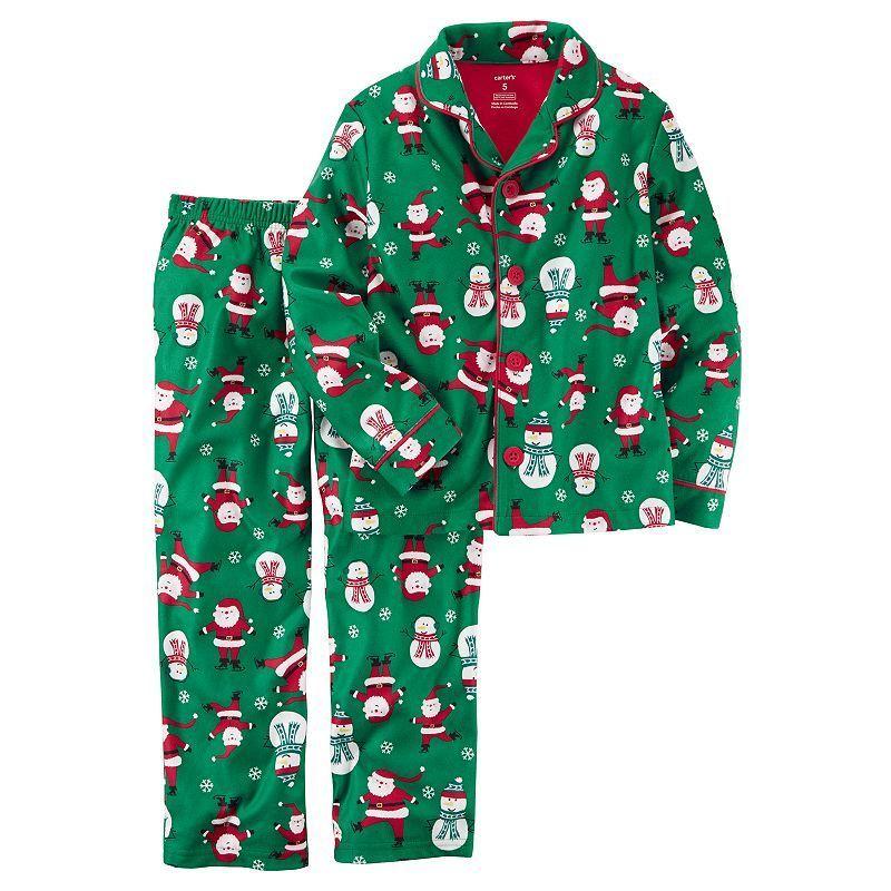 58d2f04d2c19 Toddler Boy Carter s Santa   Snowman Microfleece Button-Front Top ...