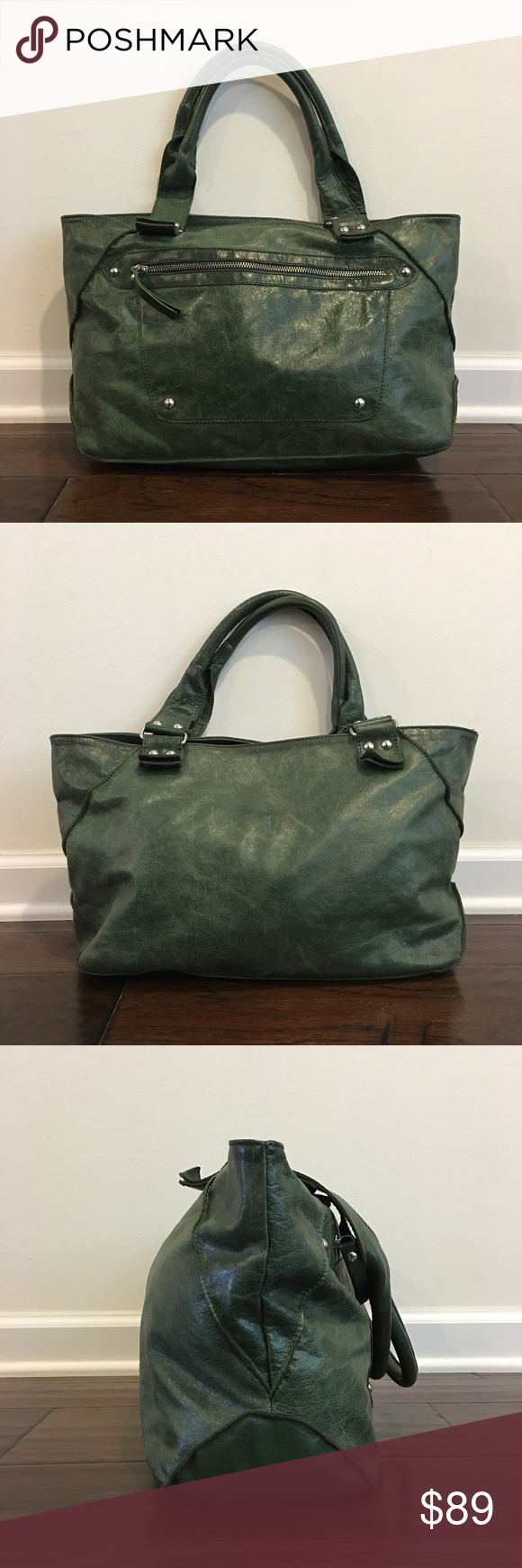 Innue Green Italy Leather Tote Shoulder Handbag Size
