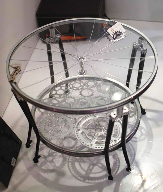 Nice Home Decoration Upcycling Ideas With Bicycle Parts Coffee Table Glass Top