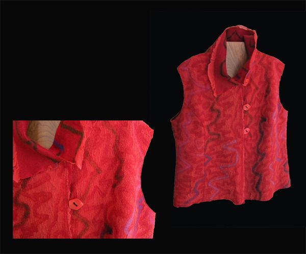 MAGGY PAVLOU: Vest: Red Felted Wool & Silk