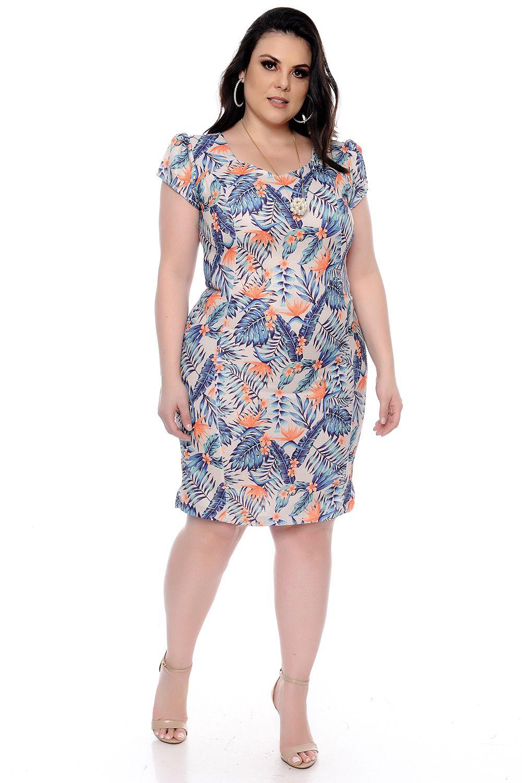 1eddaf230c69 Vestido Tubinho Folhas Plus Size - Chic e Elegante | vestidos plus ...