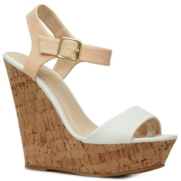 CiCiHot White Two Tone Faux Leather Cork Wedges (€17) ❤ liked on Polyvore featuring shoes, sandals, heels, white wedge heel sandals, cork wedge shoes, wedge heel shoes, vegan sandals and white cork wedge sandals