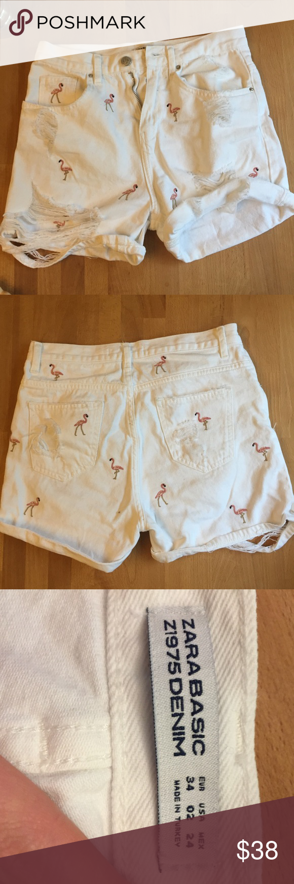 f2513d2e High rise Zara flamingo embroidered shorts Worn one time, tags removed.  Adorable white demon shorts, flamingos embroidered all over!