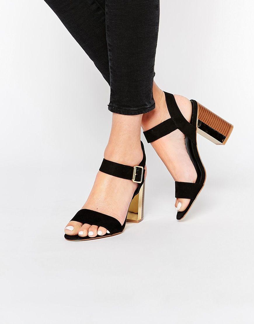 05c83911d New Look Gold Trim Block Heel | Wedding Guest Fashion | Heels, Shoes ...