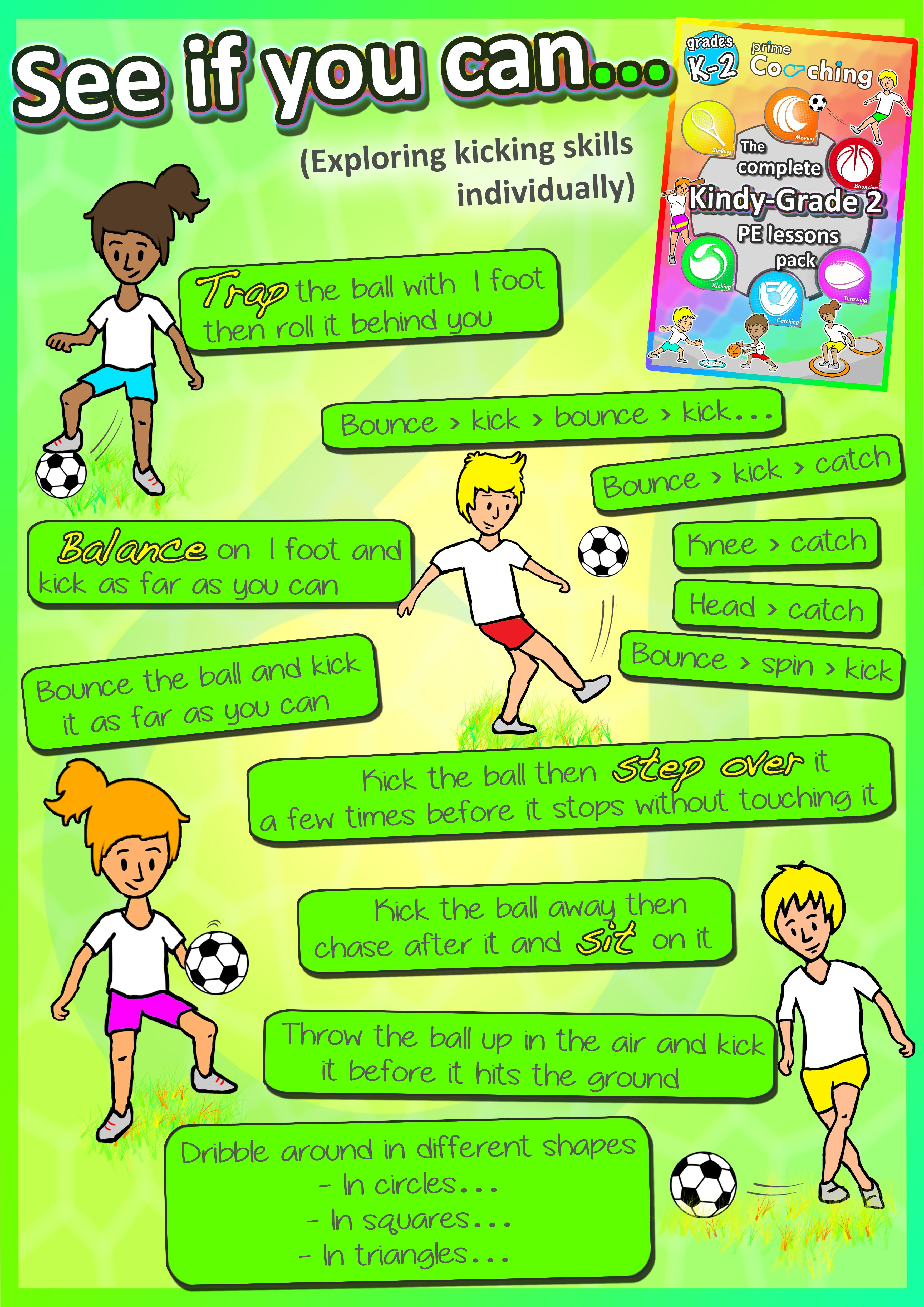 Free See If You Can Poster Individual Ways Your Kids At School Can Improve Their Soccer And Kicking P Soccer Lessons Sports Skills Soccer Drills For Kids