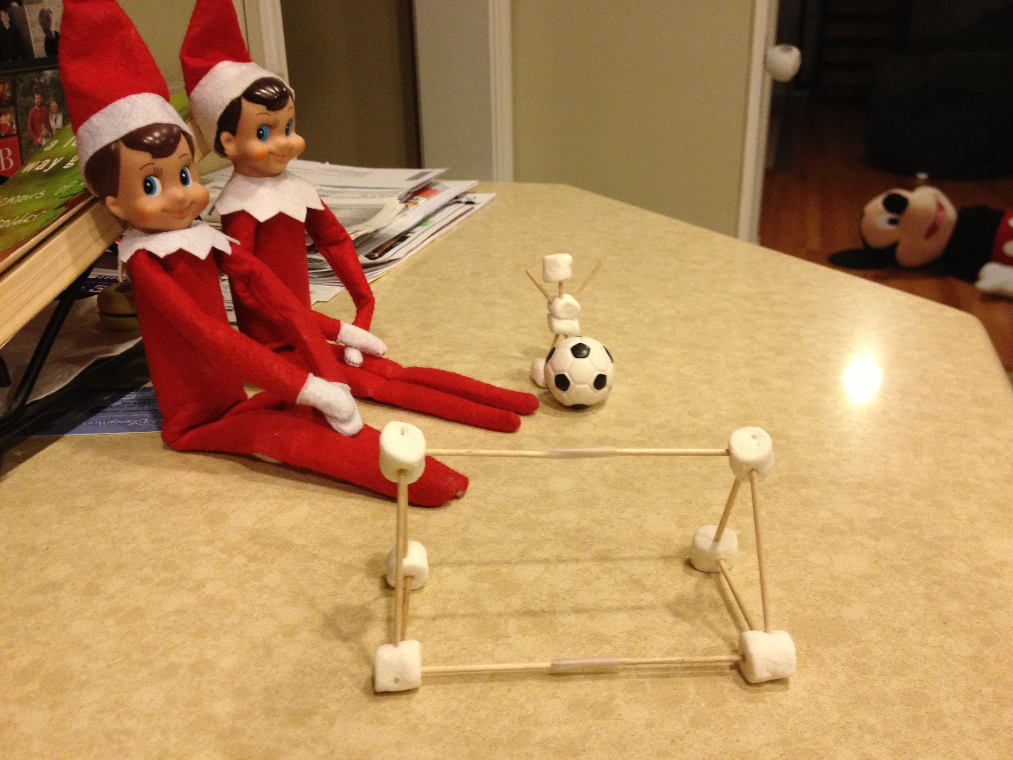 Elf On Shelf  Watching Soccer Christmas Diyholiday Craftsdiy Gifts