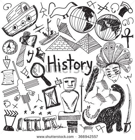 Photo of History Education Subject Handwriting Doodle Icon Stock Vector (Royalty Free) 366942557