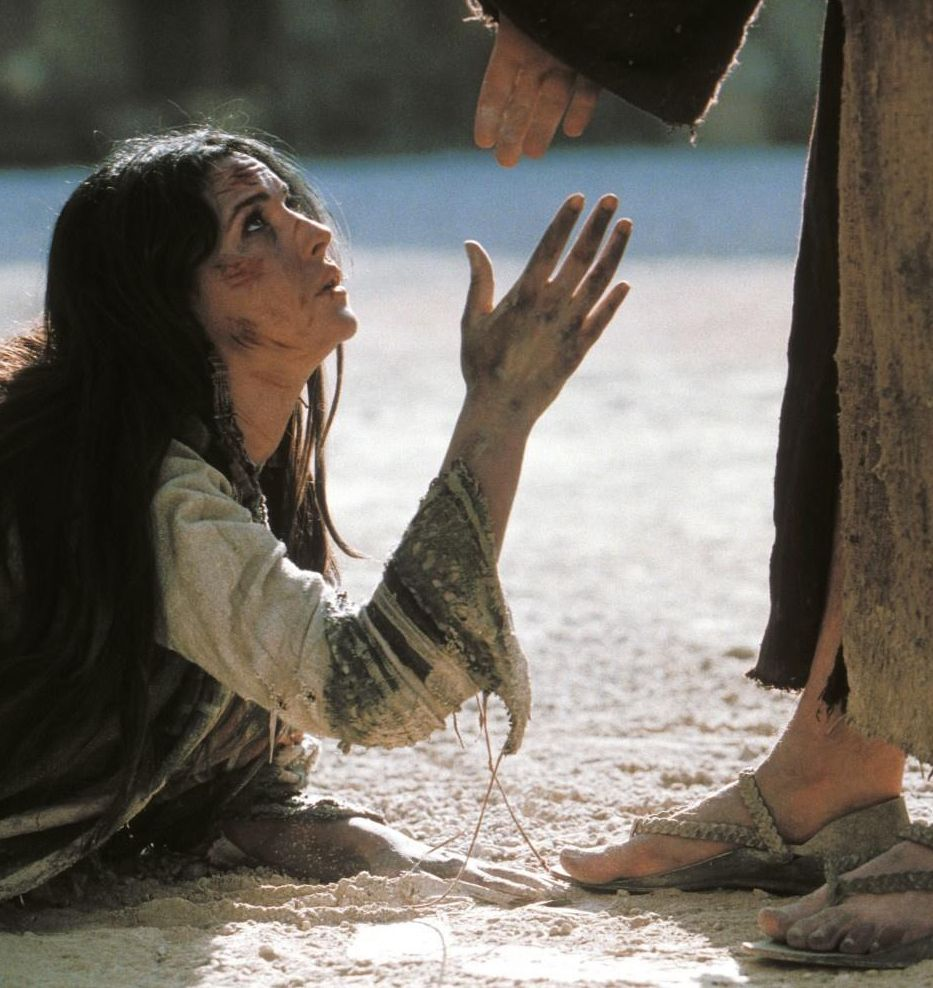Image result for Jesus helping a woman up