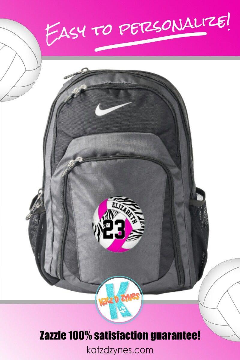 Hot Pink W Black Zebra Stripes Pattern Volleyball Backpack Zazzle Com Stripes Pattern Hot Pink Volleyball Player Gifts