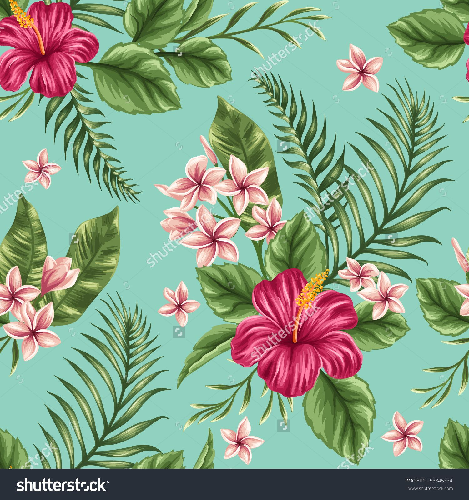 Tropical Floral Seamless Pattern With Plumeria And Hibiscus Flowers Stock Vector Illustration 253845334 : Shutterstock #flower #floral