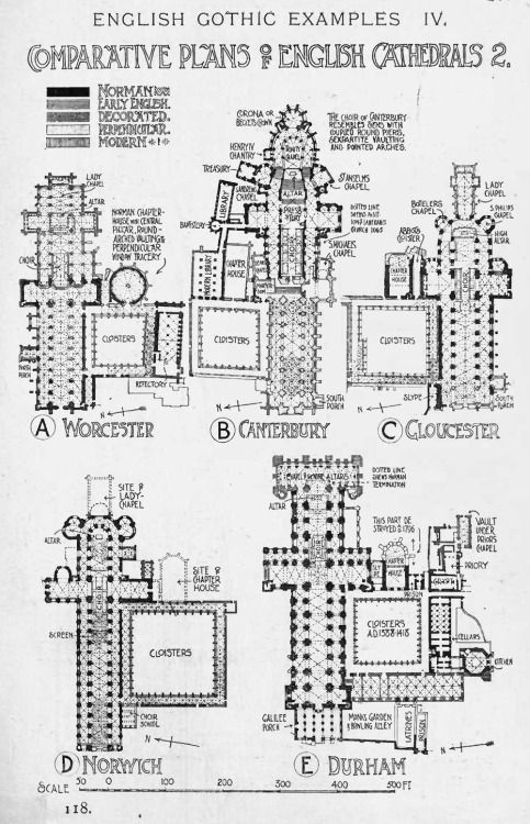 Comparative Plans Of English Gothic Cathedrals A History Architecture On The Method By Sir