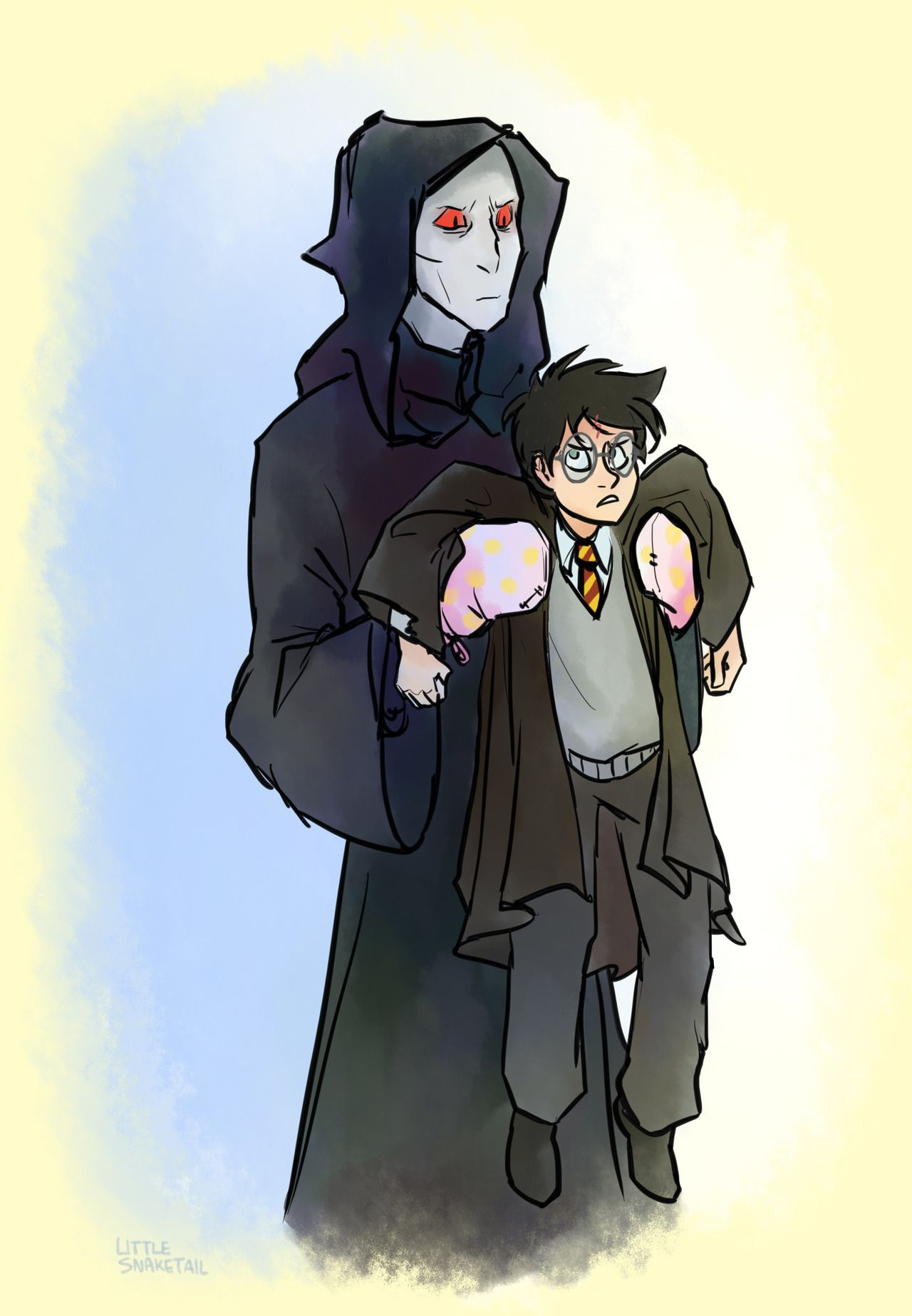 Nonsensical Au Where Voldemort Just Decides To Wear Oven Mitts When Touching Harry Harry Potter Fan Art Harry Potter Drawings Harry Potter Art