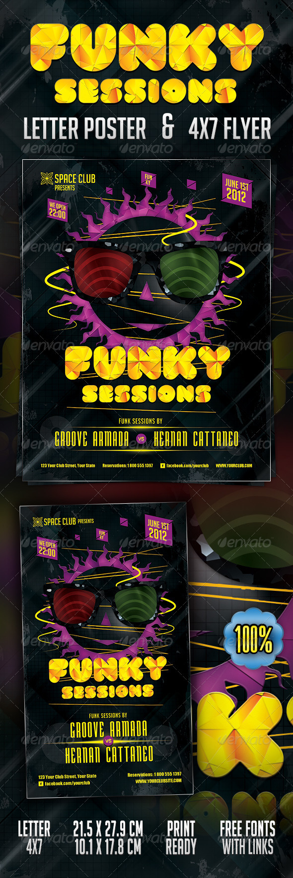 funky sessions poster flyer