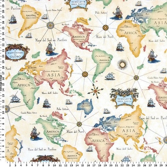 World Map Fabric Drapery Fabric Upholstery Fabric Slip Cover