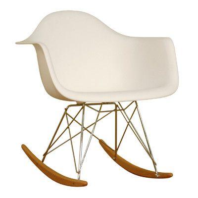 Wholesale Interiors Baxton Studio Dario White Plastic Mid-Century Modern Rocking Chair