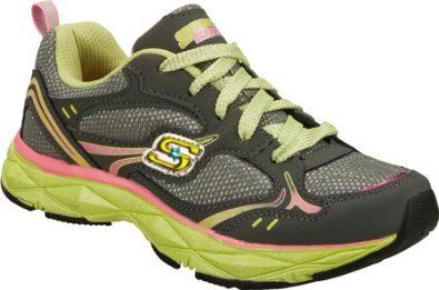 Skechers Girls' Sporty Shorty - Lite Diamond Lace (Toddler-Youth) - Charcoal-Pink Skechers. $42.95