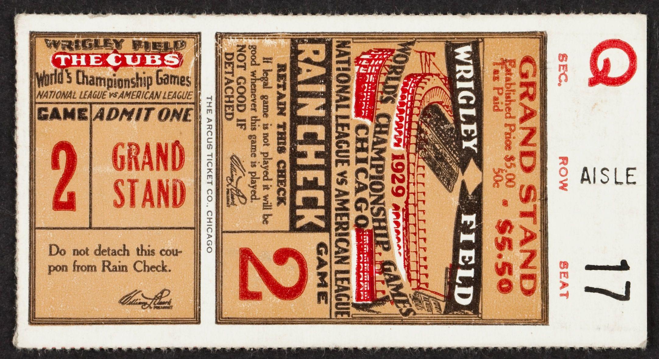 Baseball 1929 World Series Game 2 Ticket Stub. Connie