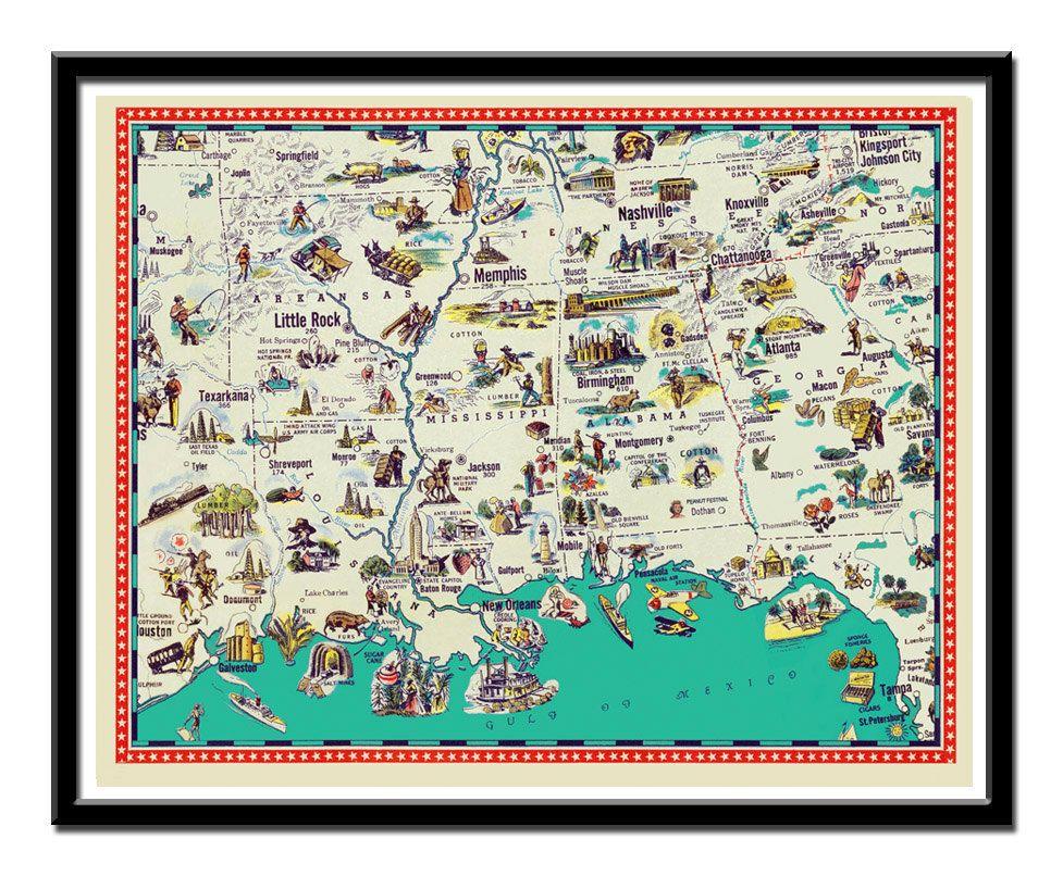 Vintage Arkansas Mississippi Tennessee Louisiana And Alabama Map