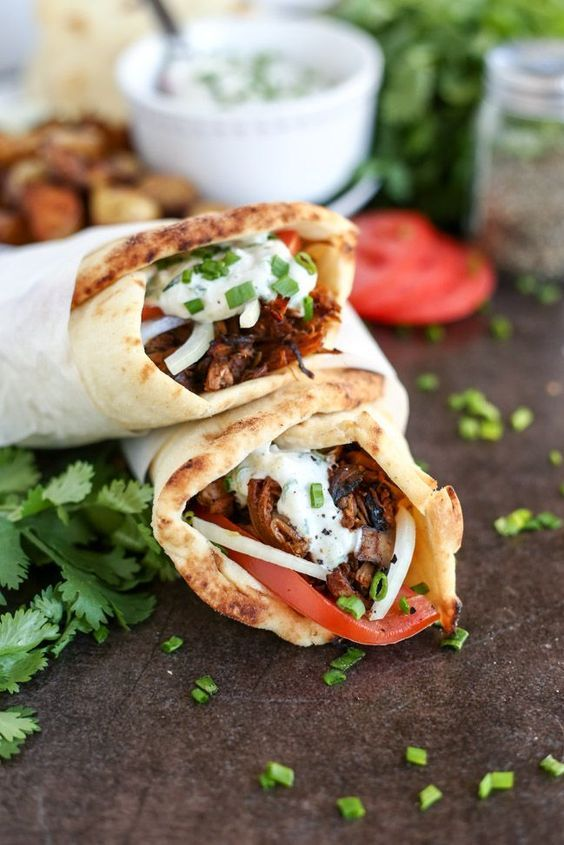 Vegan Jackfruit Mushroom Gyros And Tzatziki