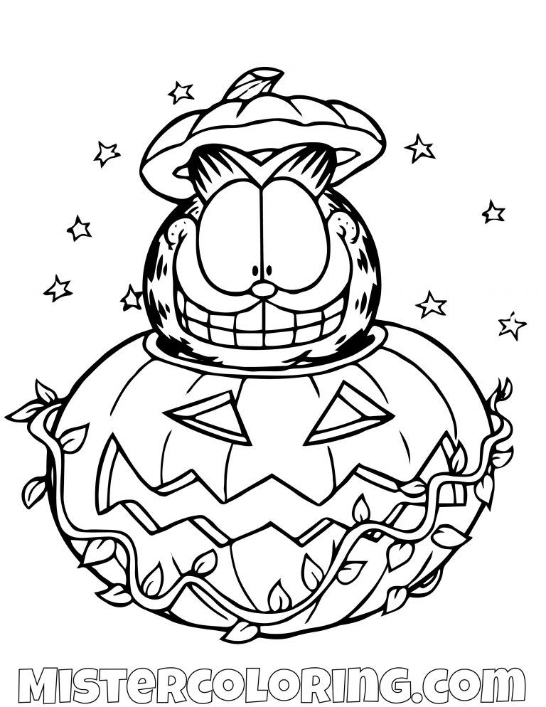 Garfield In A Pumpkin Halloween Coloring Page Halloween Coloring Sheets Halloween Coloring Pages Cartoon Coloring Pages